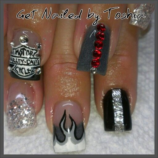 Biker D Up Manicure Nail Designs Sassy Nails Finger Nail Art