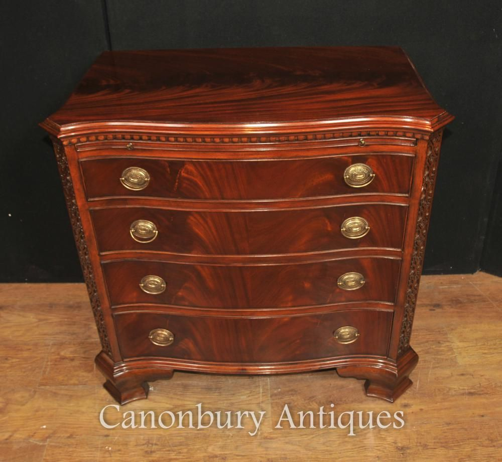 Victorian Flame Mahogany Batchelors Chest Bow Front Chests Drawers