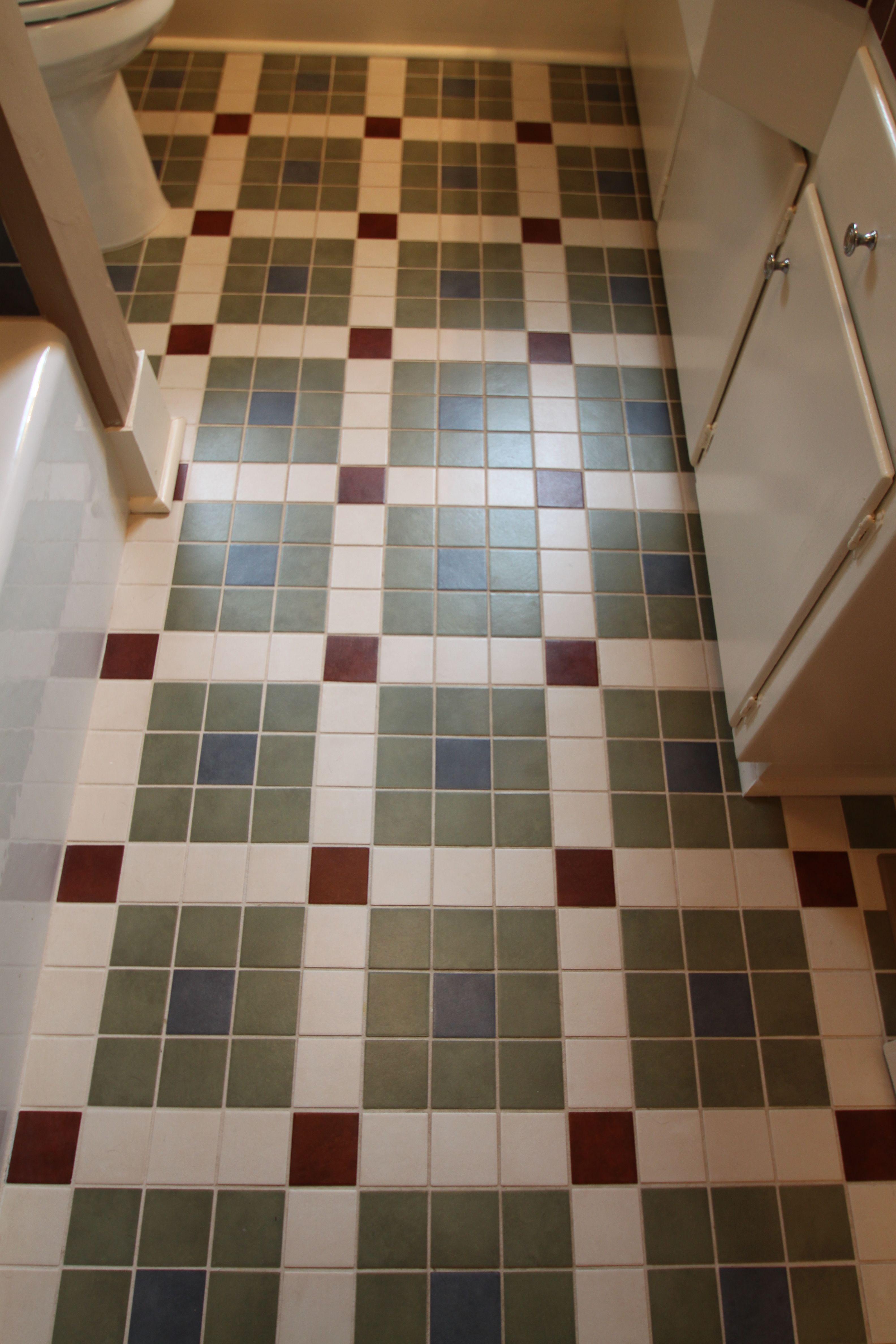 Vintage Bathroom Floor Created With Crossville Color Blox Tiles Flooring Crossville Tiles