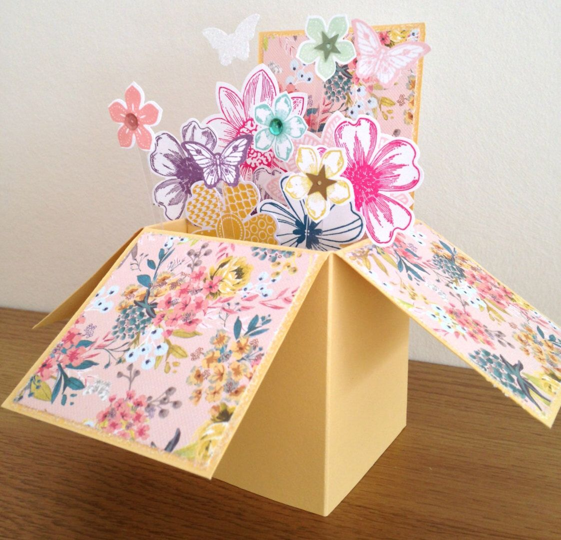 birthday card card in a box pop up card thank you card