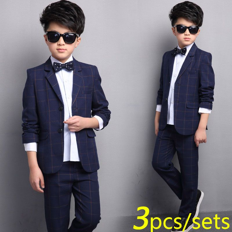 ce1ca074f846a Boys Plaid Suit 2 Button Wedding Suits for Boy 3 pieces / Set (Coat+ ...