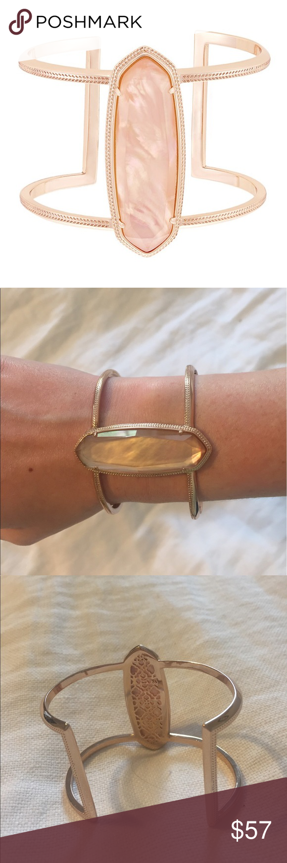 Lawson Cuff Bracelet in Peach Illusion Statement cuff in rose gold metal and a peach center stone. Kendra Scott Jewelry Bracelets