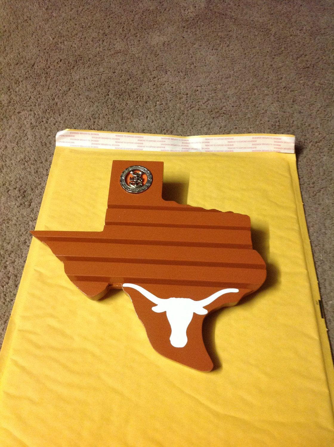 Texas Longhorns Texas Shaped Challenge Coin Holder  $25 00, via Etsy