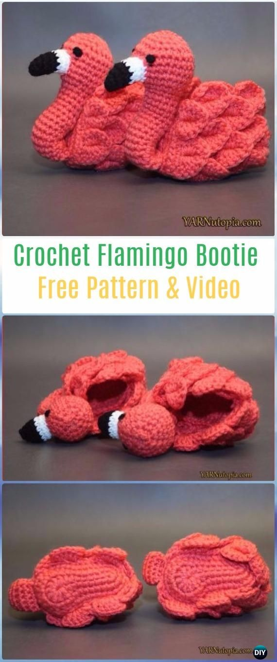 Crochet Flamingo Baby Booties Shoes Free Pattern -Crochet Baby ...