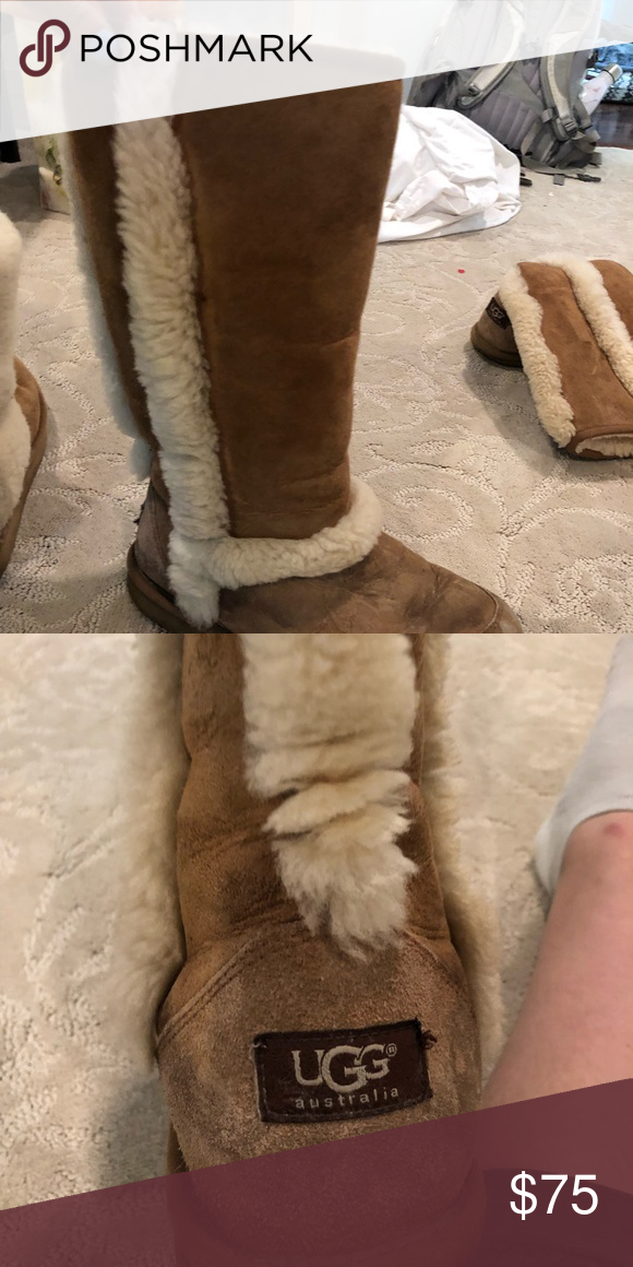 d7773bf651c Worn UGG boots Worn tall ugg boots with the fur on the outside ...