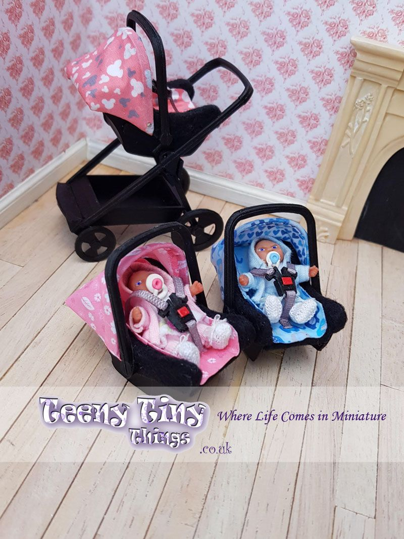 1/12th scale, miniature 2 in 1 travel system stroller