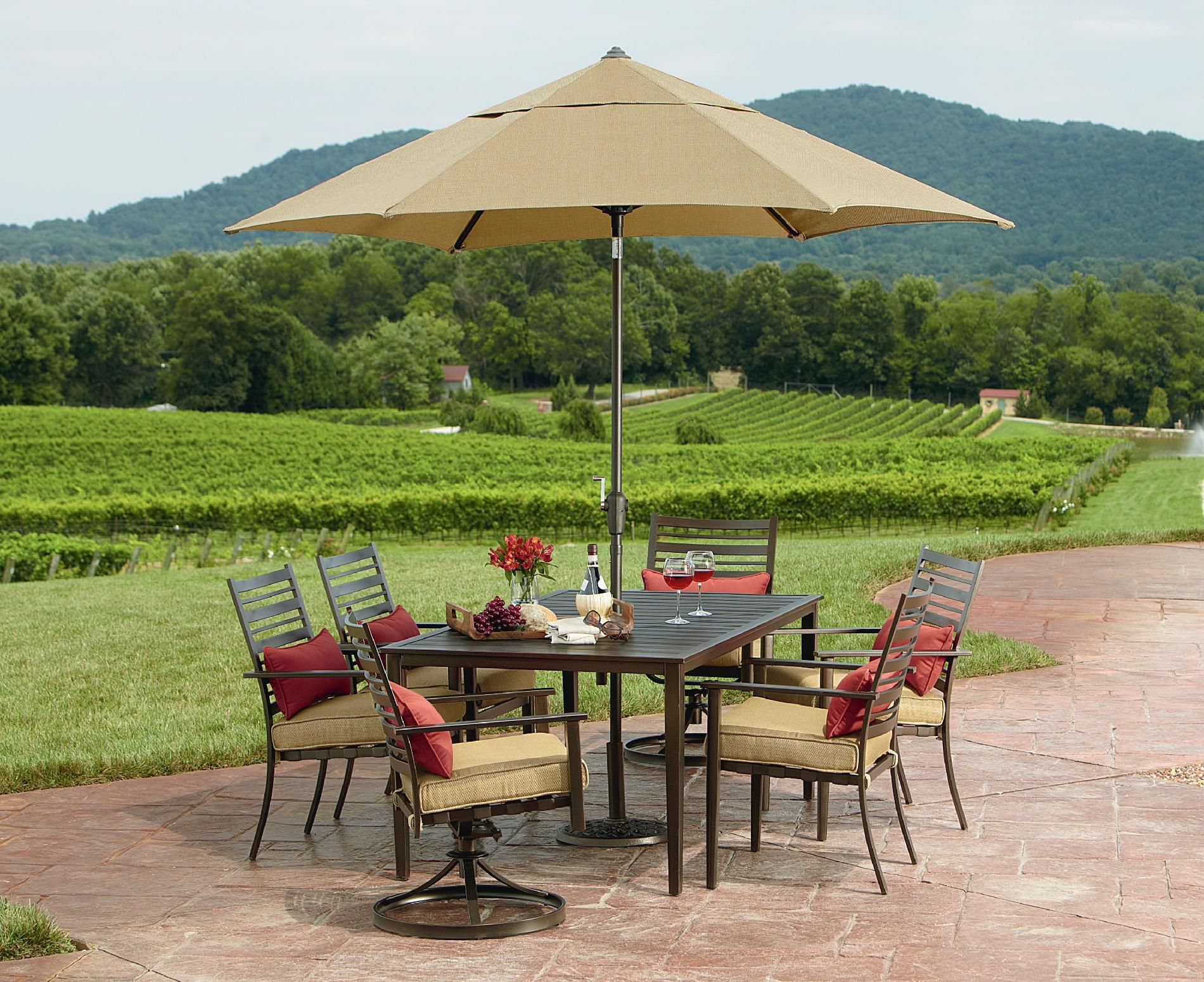 Grand Resort Gardiner 7 Piece Slat Dining Set Outdoor Living