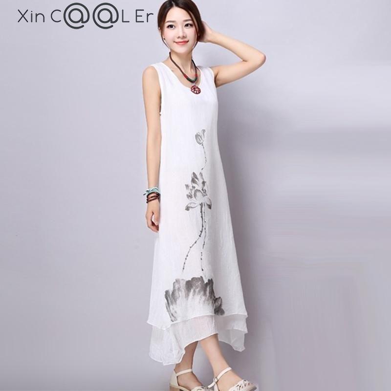 d6fbb8995b Beautiful 2017New Summer Cotton Linen Women Dresses Ink Art Print Loose  Casual A line Designs - £9.85