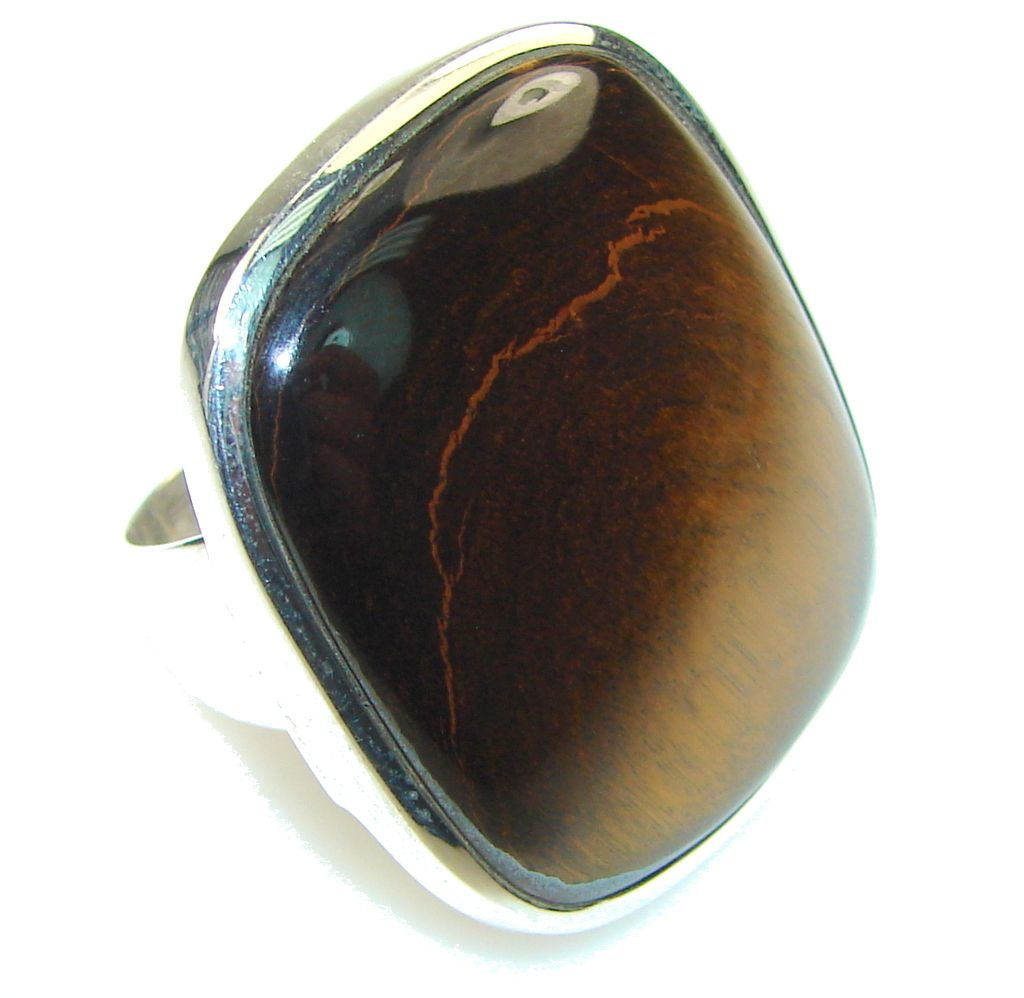 $56.85 Amazing!! Brown Tigers Eye Sterling Silver Ring s. 9 at www.SilverRushStyle.com #ring #handmade #jewelry #silver #tiger'seye