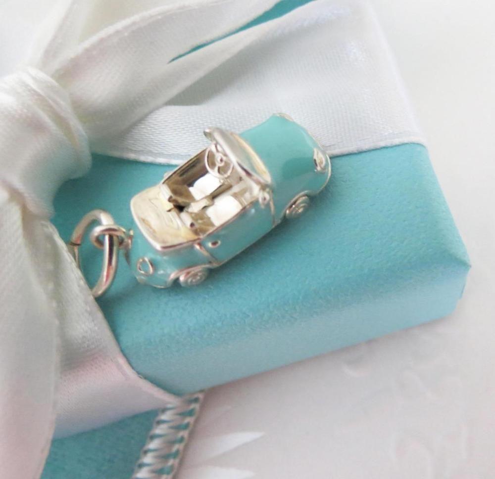38fe16c7a3c0 Tiffany   Co Silver Blue Enamel Convertible Sports Car Charm 4 Bracelet  Necklace  TiffanyCo  ConvertibleSportsCarCharm