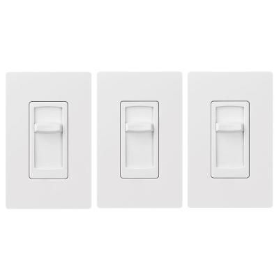 Lutron Skylark Contour C L Slide Dimmer Switch For Dimmable Led Inc Hal Bulbs Single Pole White 3 Pack Bulb Led Plates On Wall
