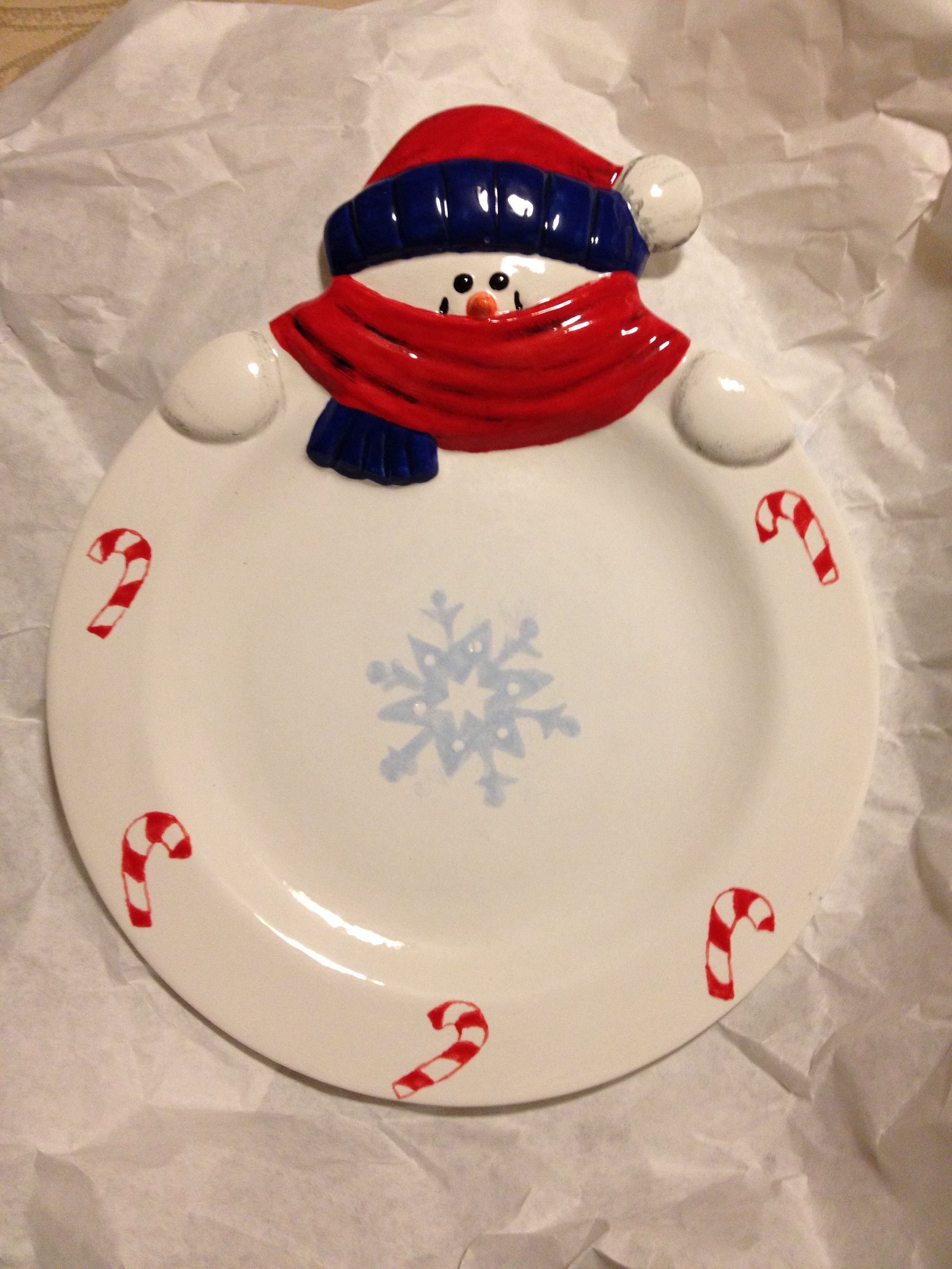 Painted Pottery Snowman Plate Pottery Painting Pottery Painting Designs Pottery