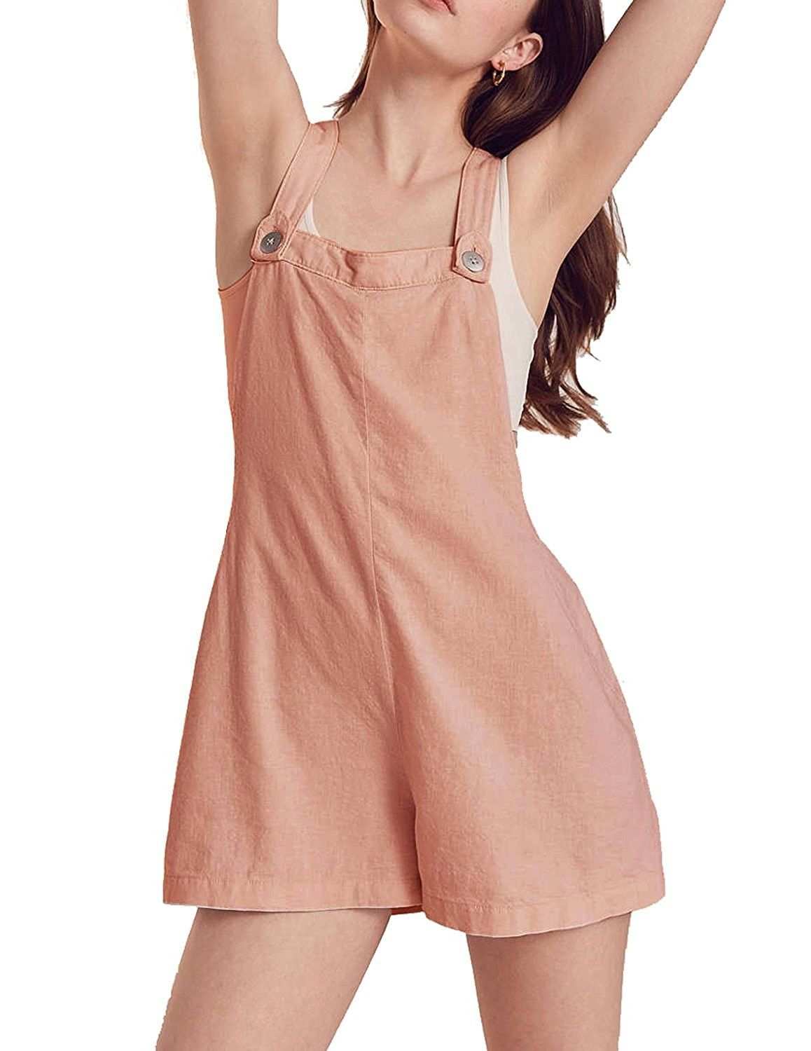 298a8276d1 Womens Bib Shortall Overall Sleeveless Casual Jumpsuit - Pink ...