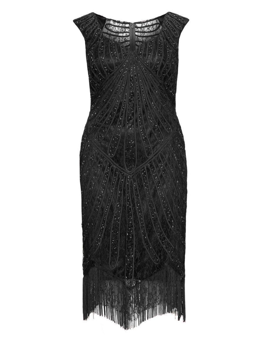 Cocktailkleid aus Spitze mit Fransen in Schwarz designed von Viviana ...