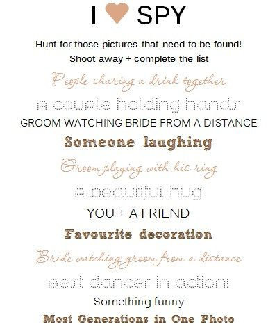 Wedding Photo Scavenger Hunt Cards Template