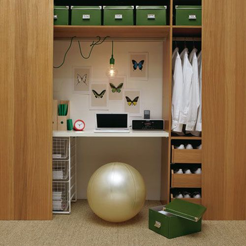 Love The Closet Office And Organization Used. And The Ball As A Chair