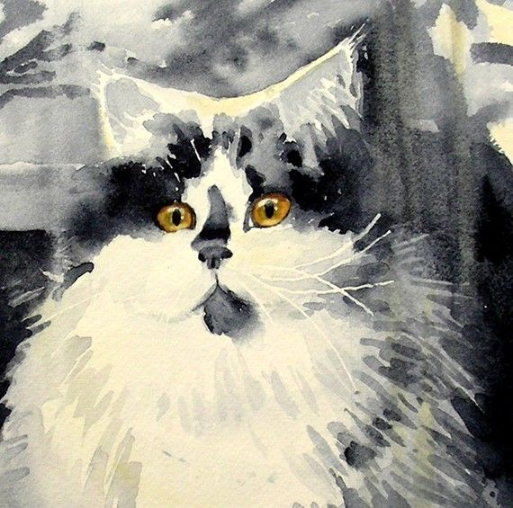 Watercolor Print Watercolor Cat Dog Watercolor Painting Cat Art