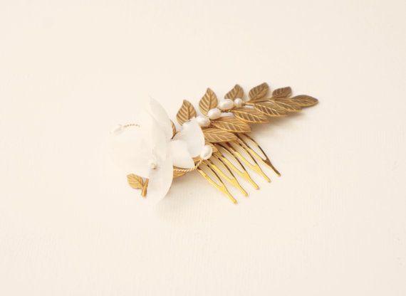 Gold hair comb Bridal hair comb Leaf bridal comb di Lietofiore
