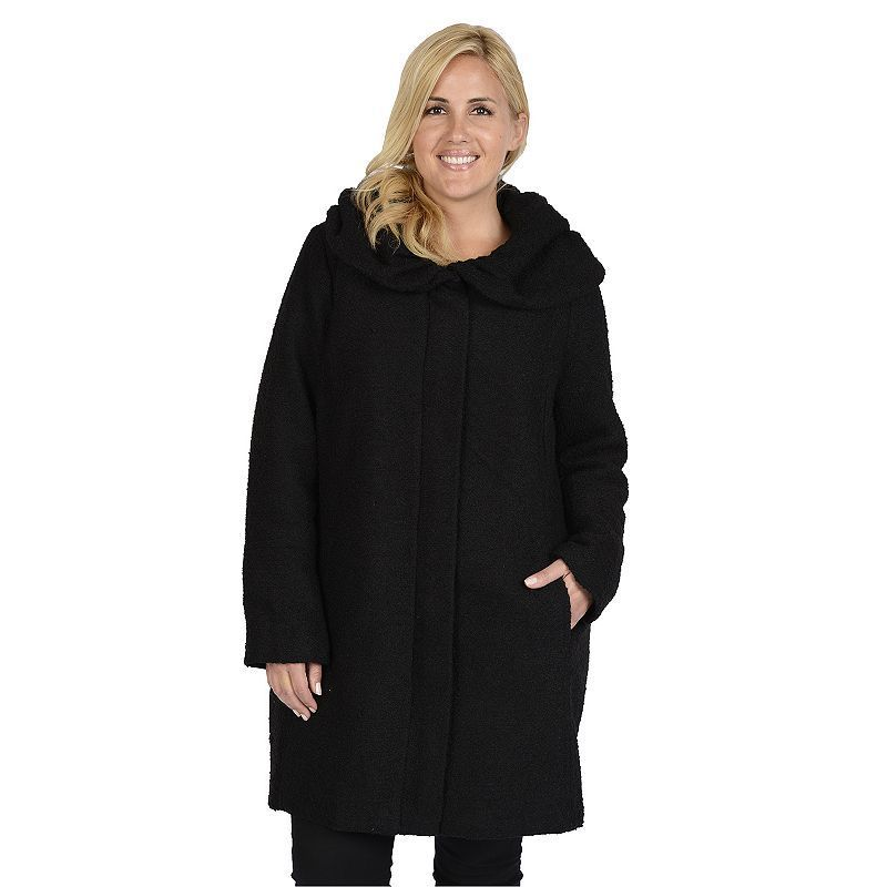 Plus Size Excelled Hooded Boucle Jacket Black