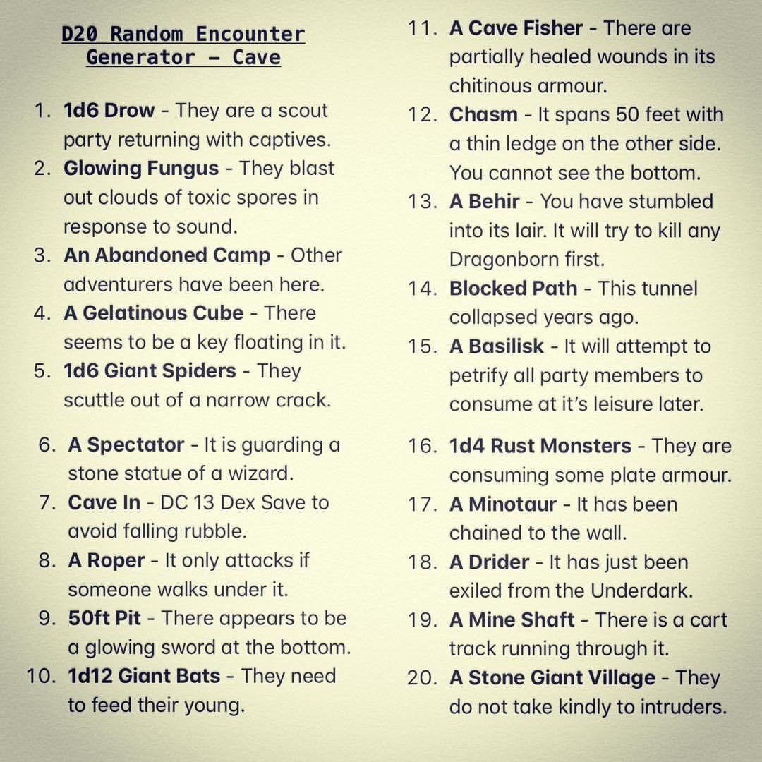 "5E Generator 𝕭𝖆𝖗𝖉𝖎𝖈 𝕿𝖆𝖑𝖊𝖘 on instagram: ""d20 random encounter"