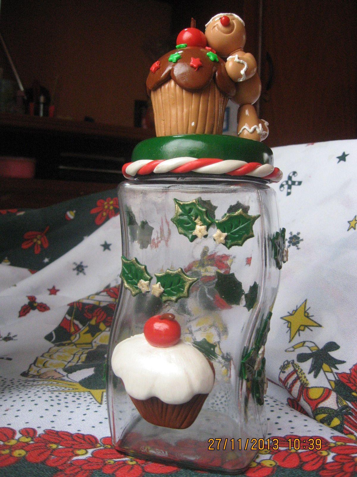Frasco frascos con porcelana fria pinterest frascos for Frascos decorados para navidad
