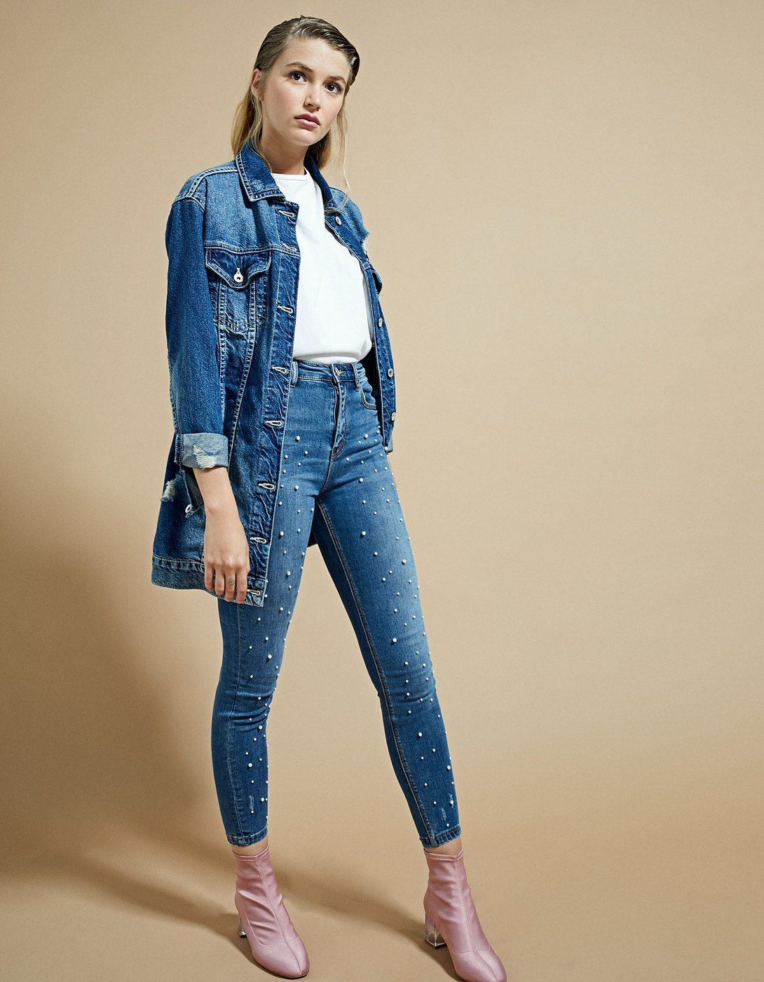 Denim super high waist perlas - Jeans | Stradivarius España