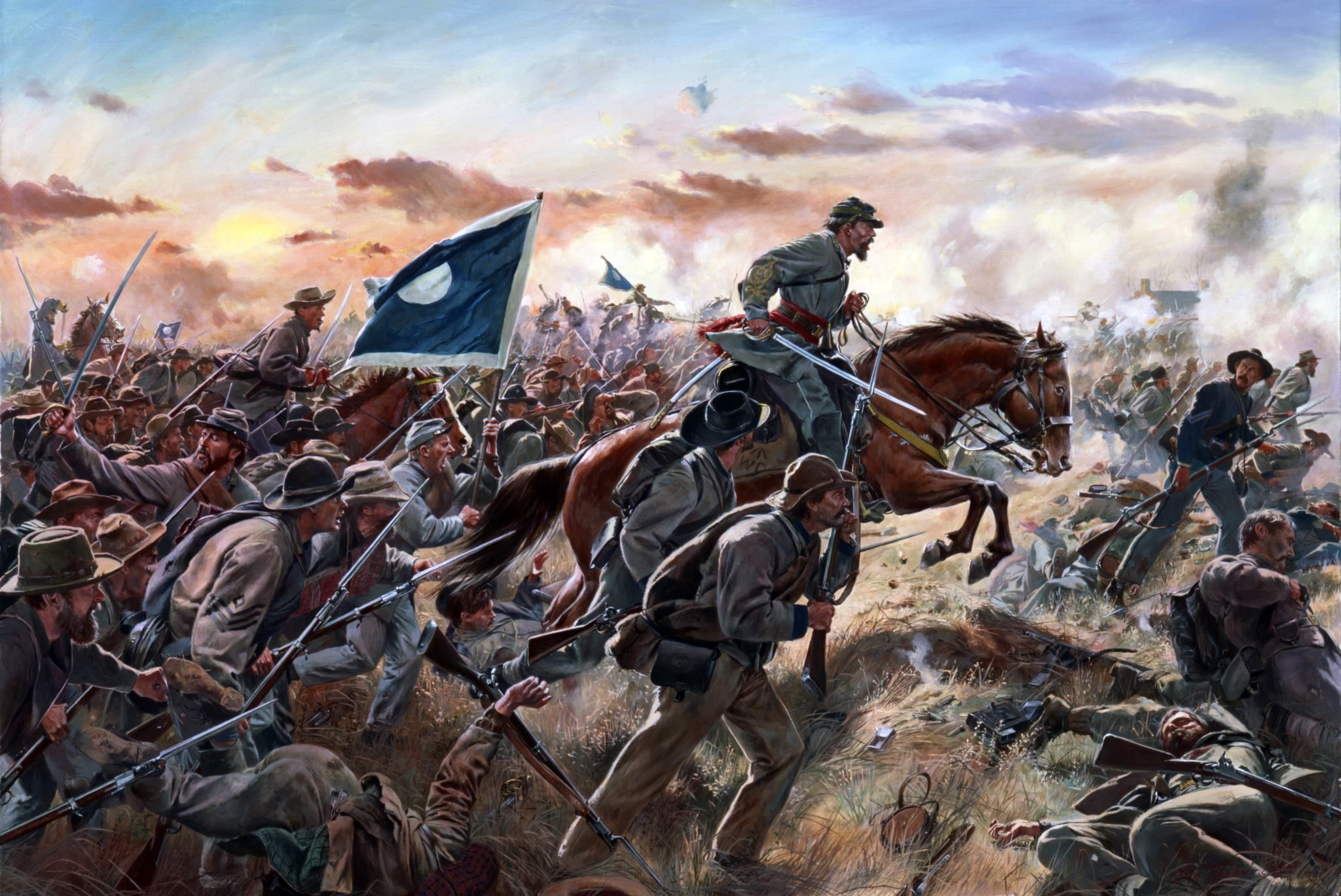 """""""Patrick Cleburne"""" by Don Troiani. Maj. Gen. Patrick R. Cleburne leads his  Division in the assault upon the earthworks built around Franklin, TN by  the Army ..."""