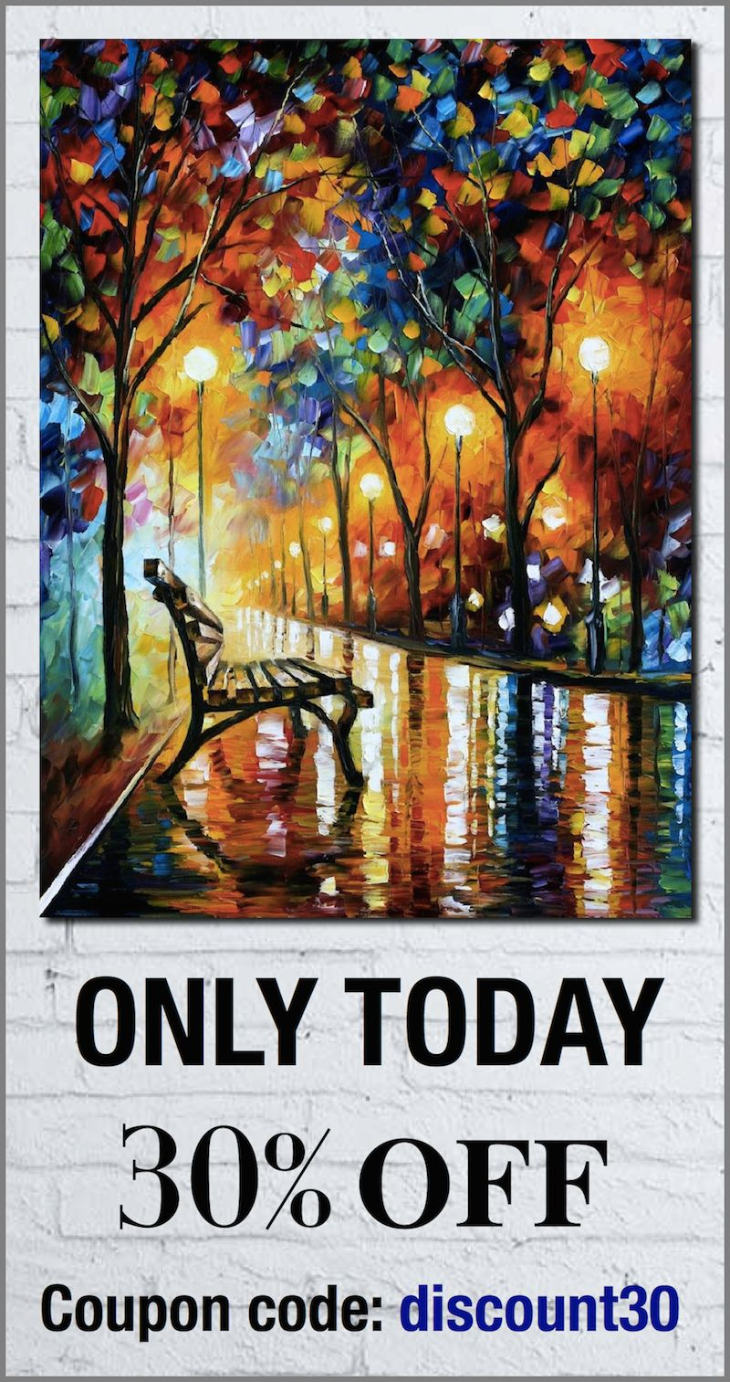 Get any original oil painting of Leonid Afremov with 30