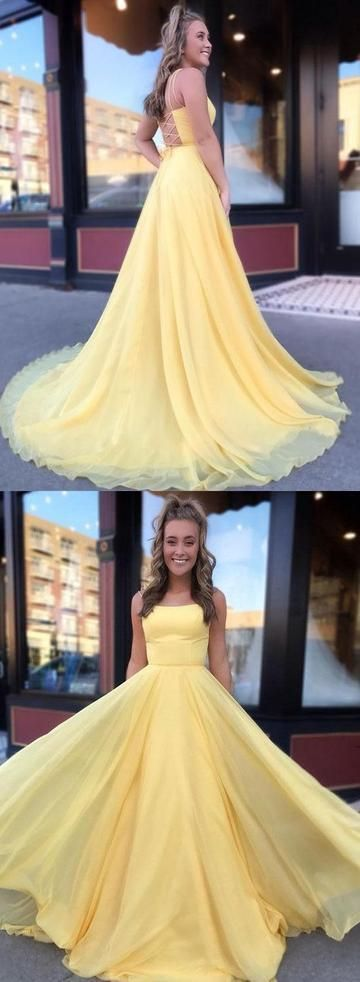 Prom Dresses Beautiful, Yellow Long Prom Dresses, Chiffon Prom Dresses 2019 with Lace Up Back