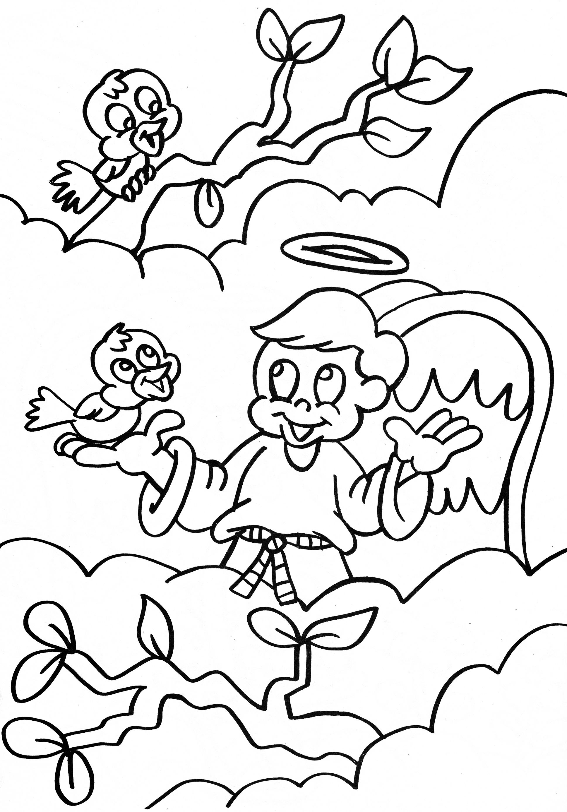 angel coloring page - boy angel talking to birds in the clouds ...