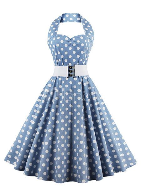 Women s Vintage Dress Light Blue Polka Dot Halter Flare Dress With Belt  Milanoo 888e33360169
