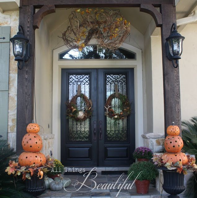 Double Front Door Ideas: All Things Beautiful: {Fall Wreath} Porch Decor