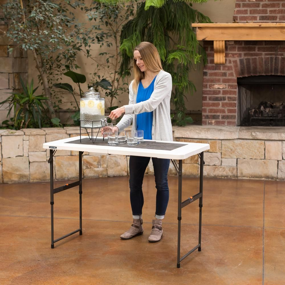 Lifetime Lifetime 4 Ft One Hand Adjustable Height Fold In Half Table Almond 80726 The Home Depot Adjustable Height Table Lifetime Tables Fold In Half Table