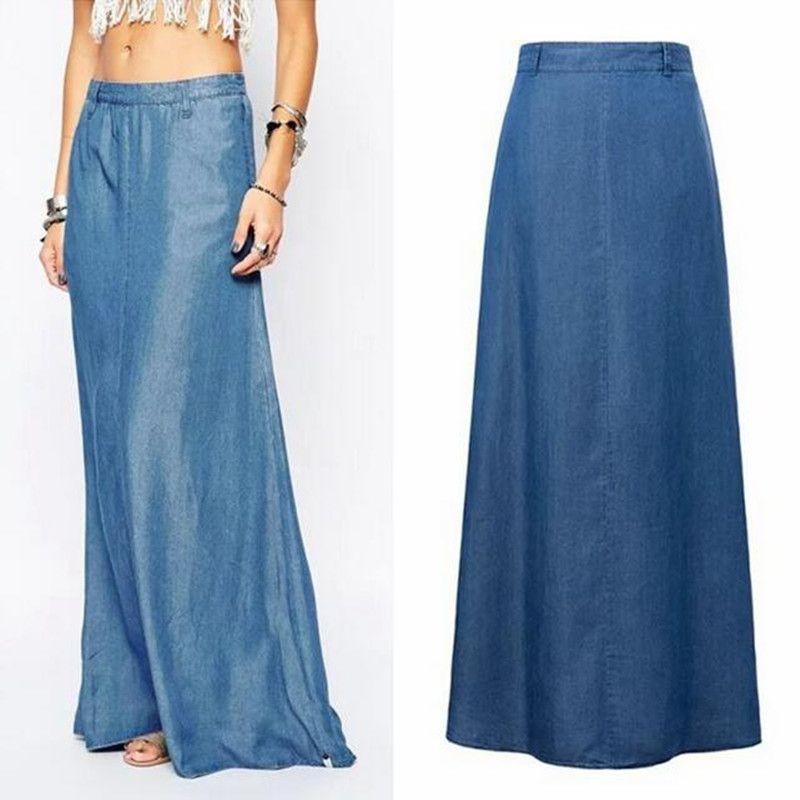 582547fa4 Resultado de imagen para de jean a falda larga | Идеи юбки | Faldas ...