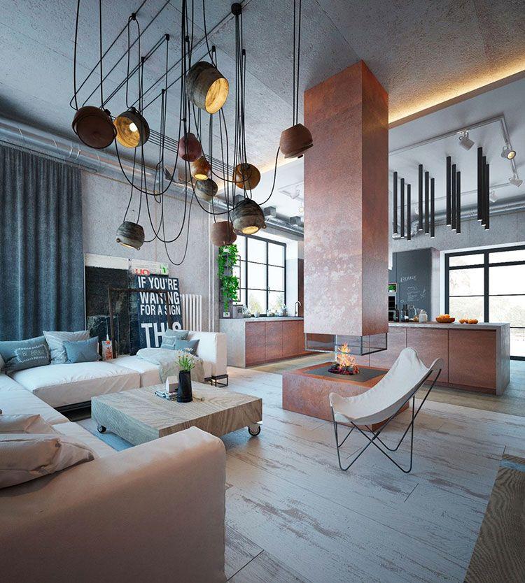 23 idee per arredare il soggiorno in stile industriale for Design d interni