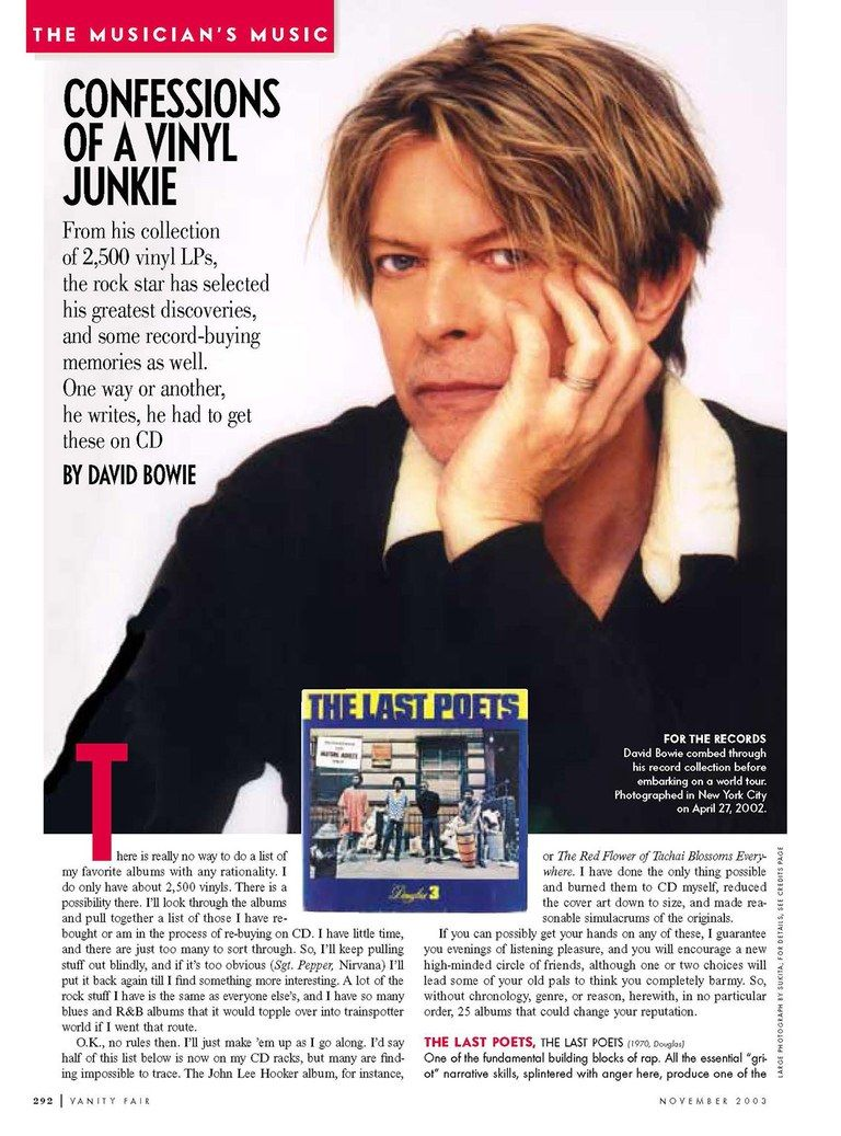 From 2003: Bowie reveals, in no particular order, the music that changed his life.