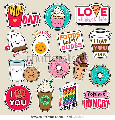Set of fashion girls patches, cute colorful badges, fun cartoon icons design vector in food and drinks concept