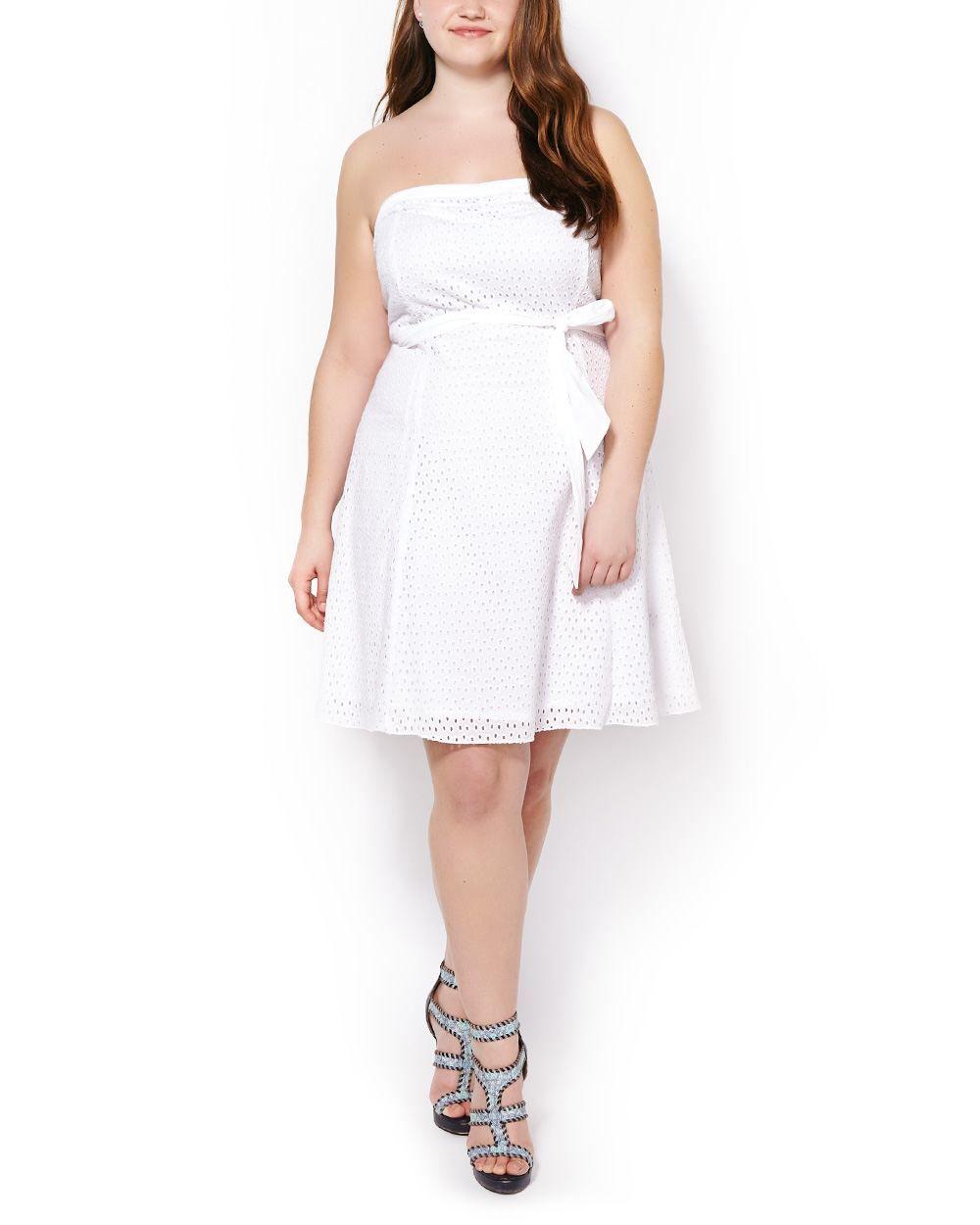 Cotton Eyelet Lace Dress with Removable Straps #plussizefashion #penningtons
