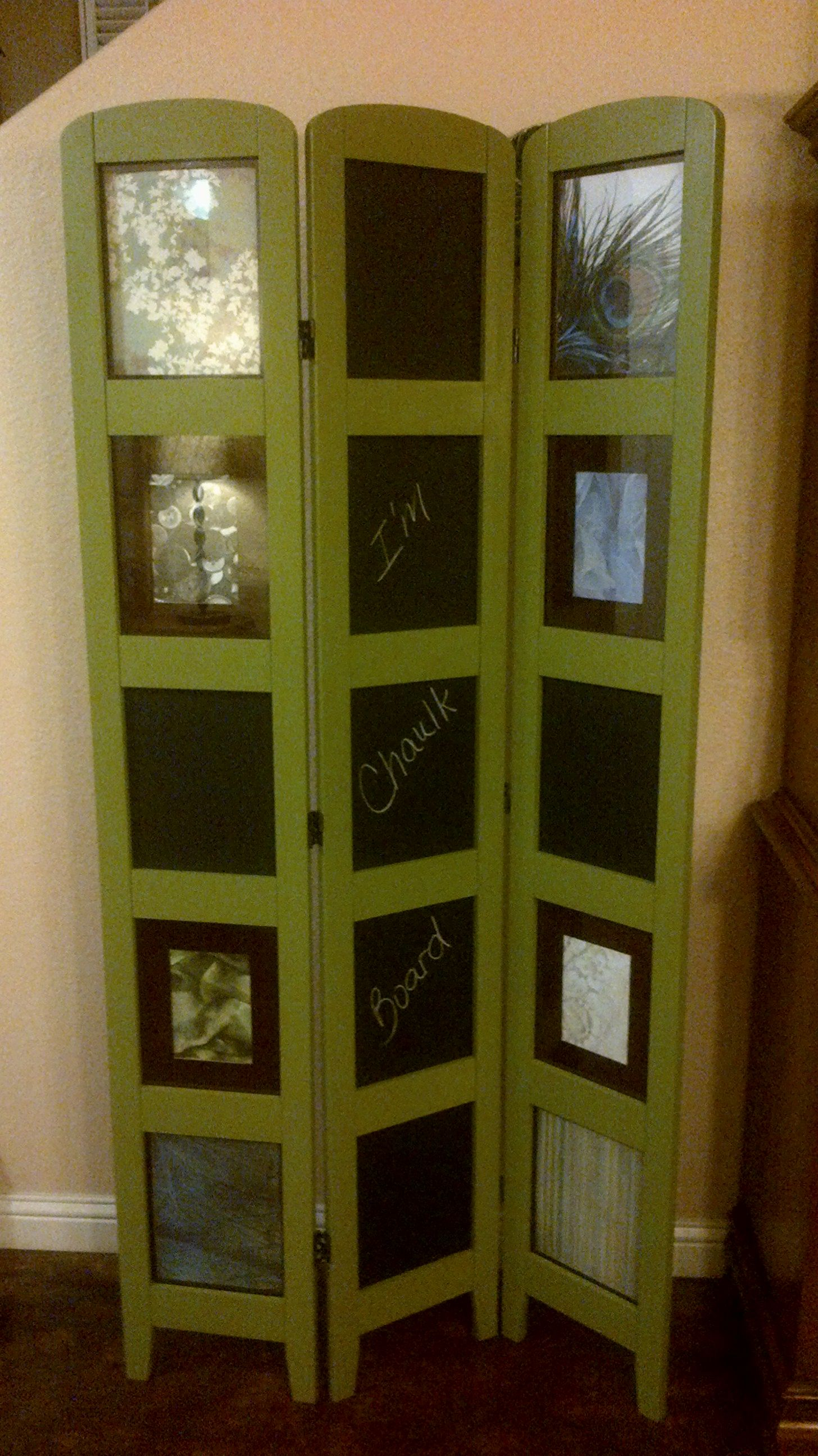 Repurposed Photo Room Divider With Chalkboard Panels
