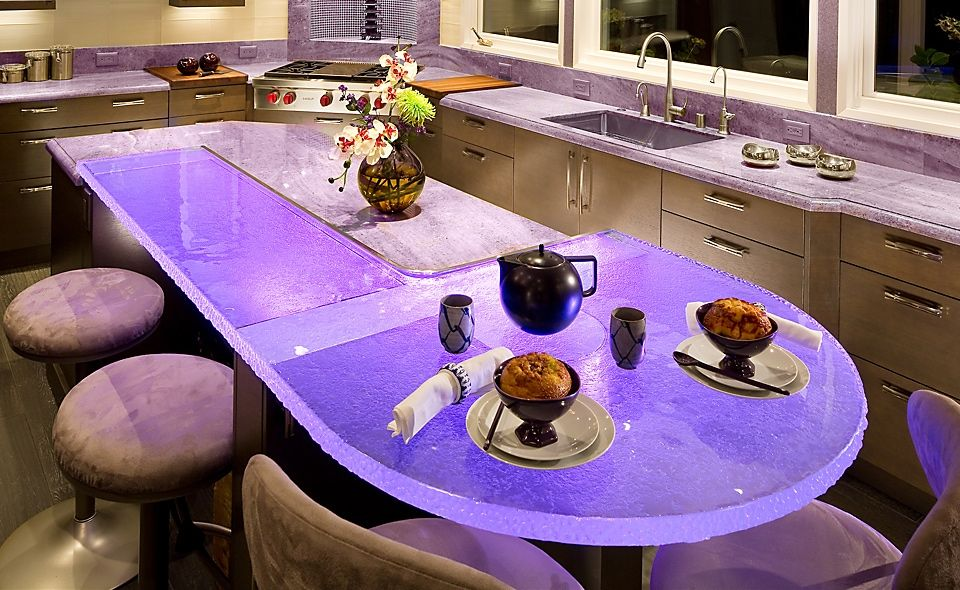 Inner Glow ThinkGlass Versatile Countertop Design : Cool Jewel Inspired  Kitchen Design With Violet Lighting Eating Island Illuminated Glass  Countertop Ideas ...