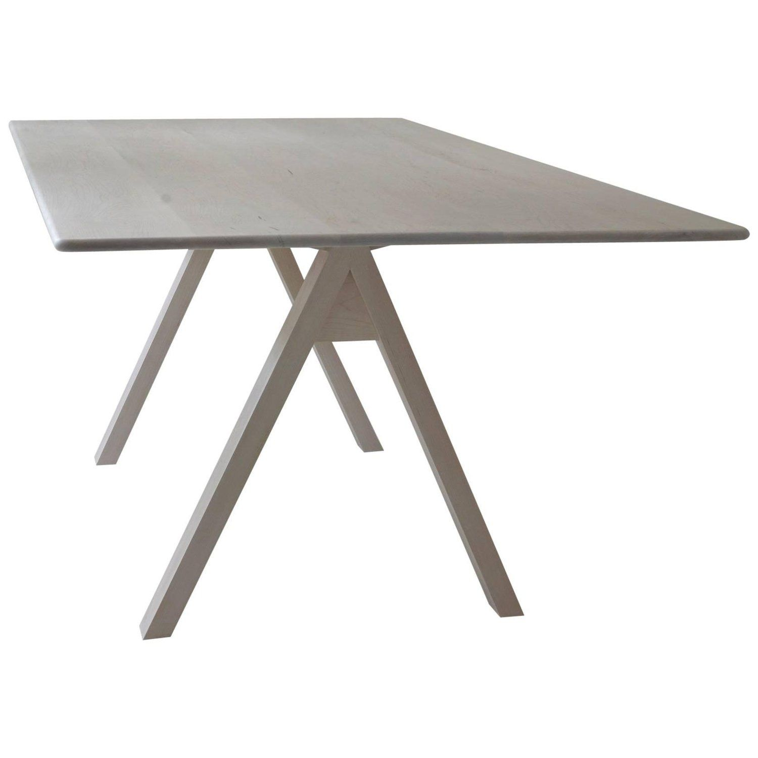 Spectral Dining Table / Bleached Maple Minimal Modern Trestle Table ...