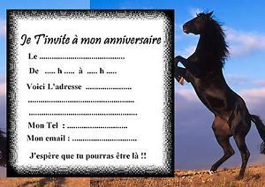 invitation anniversaire cheval à colorier