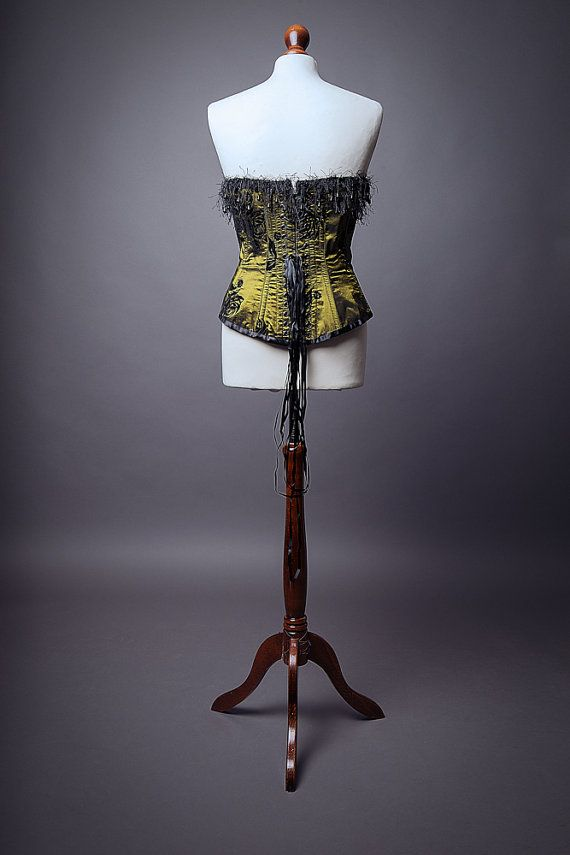 Gothic corset burlesque deep green & black by LyndseyBoutique