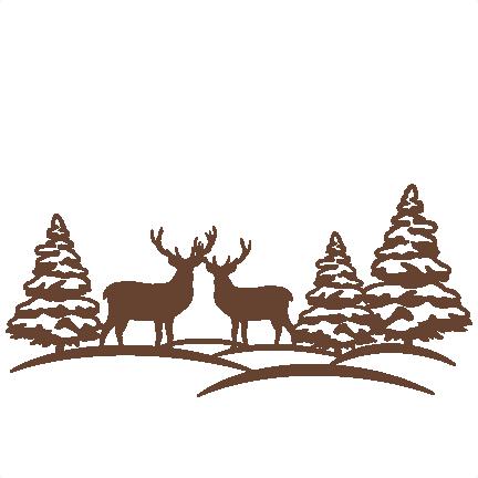 Reindeer Winter Scene Svg Scrapbook Cut File Cute Clipart Files For