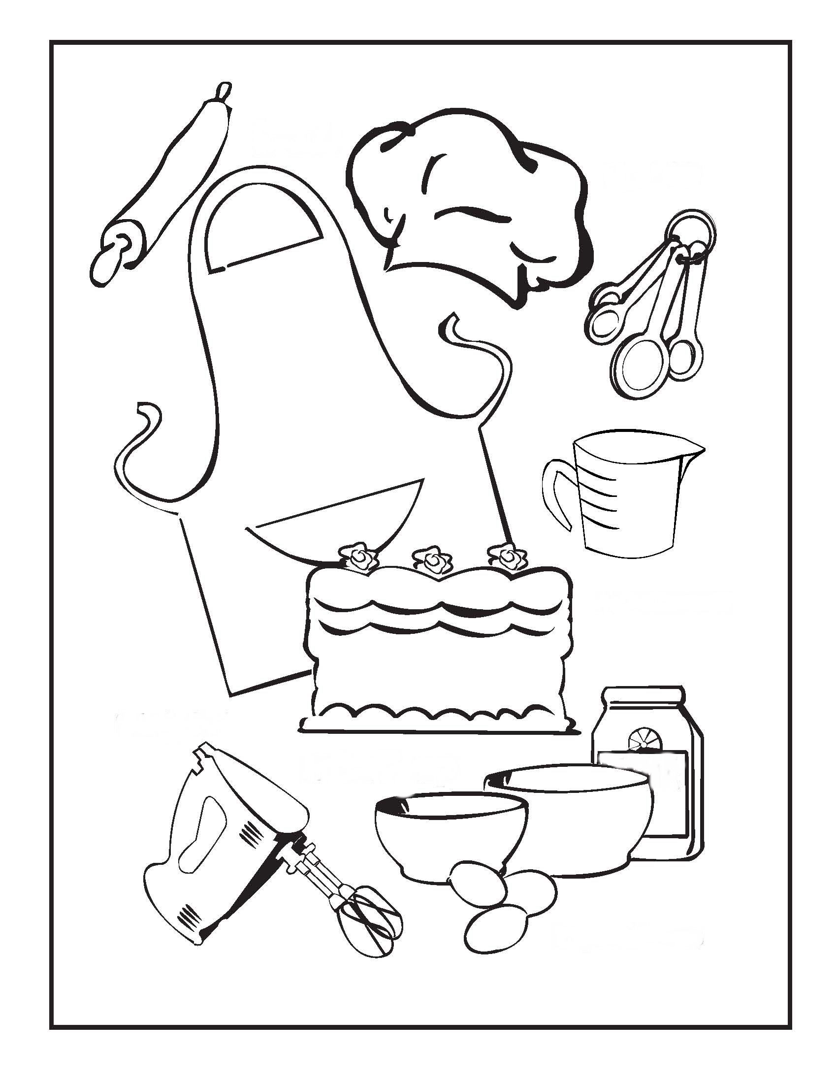 Cooking and Baking Coloring Pages Birthday Printable Recipes