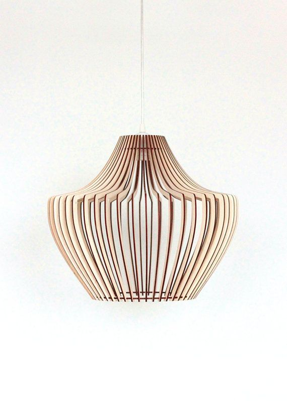 Wood Lamp Wooden Shade Hanging Pendant Light