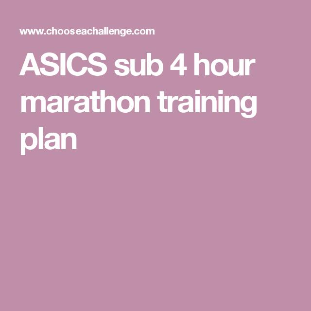 ASICS sub 4 hour marathon training plan