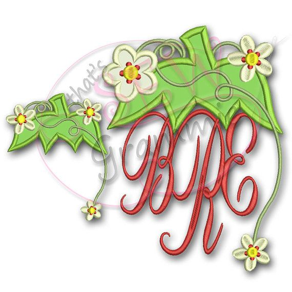 Strawberry Monogram Topper by SewGrammieApplique on Etsy, $5.49