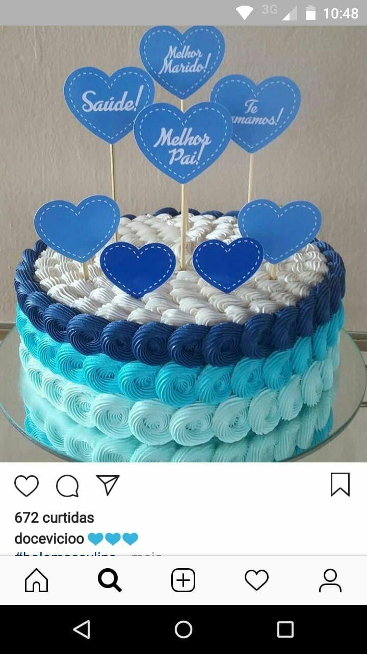 Bolo homem u0422  u0440 u044b de 2019 Bolo, Bolo de aniversario decorado e Decoracao de bolo simples