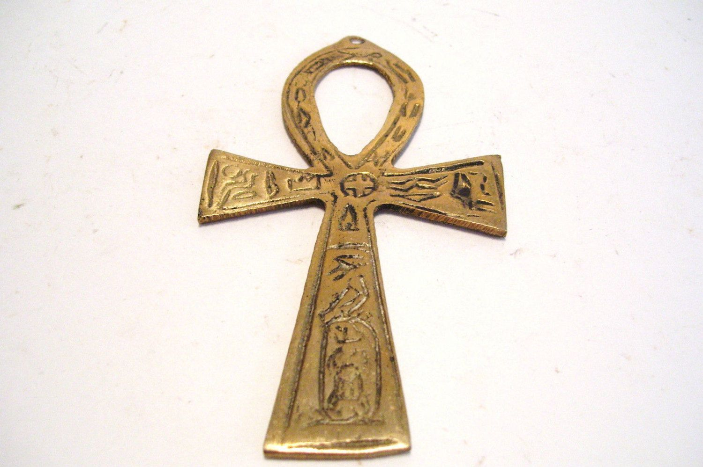 1950s asian brass fertility symbol cross 425 inches